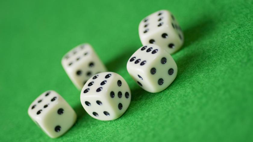 Five dice, all showing six