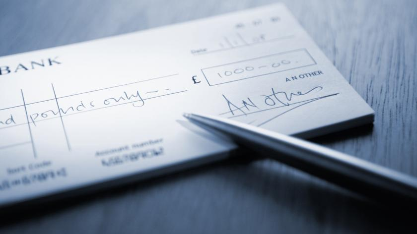 A signed cheque