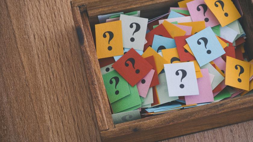 box of question marks