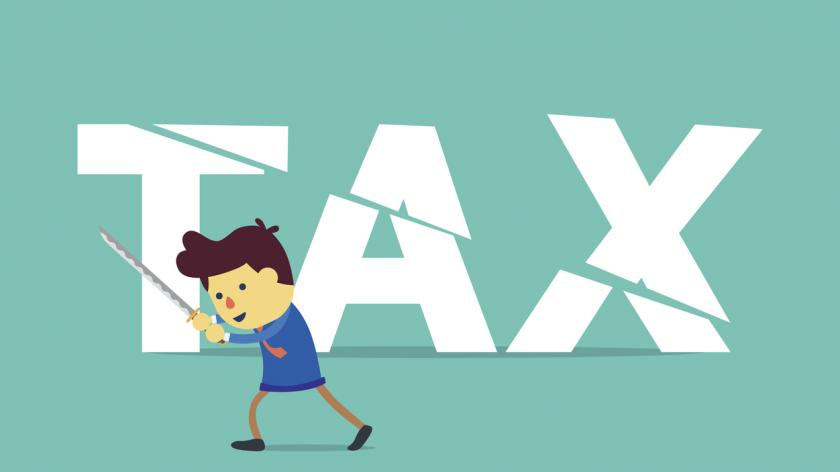 cut tax with sword