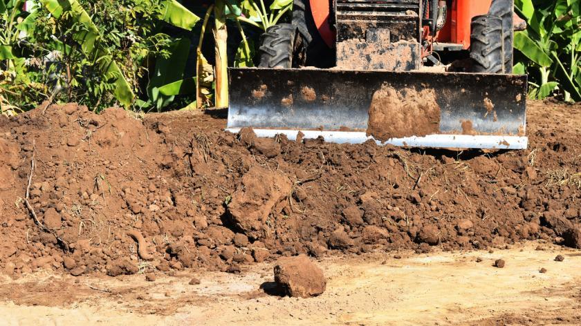 bulldozer pushing earth