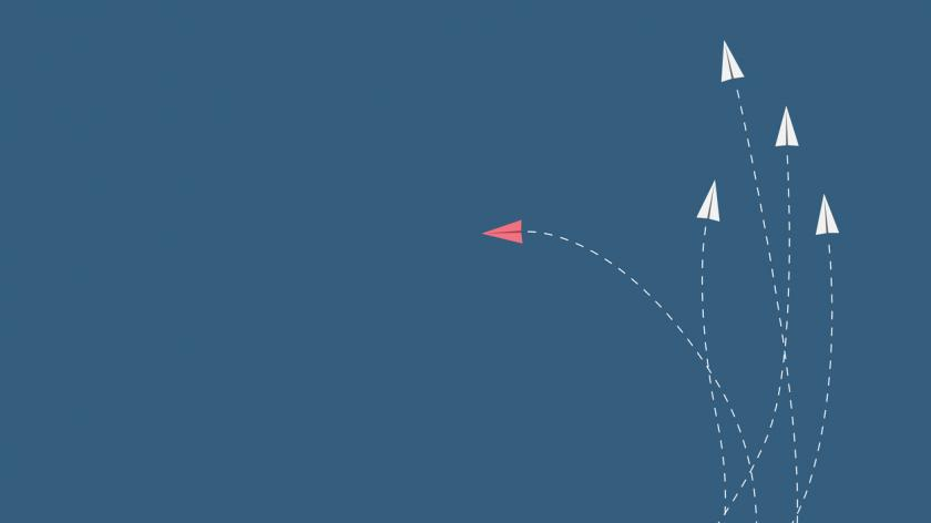 Minimalist stile red airplane changing direction and white ones