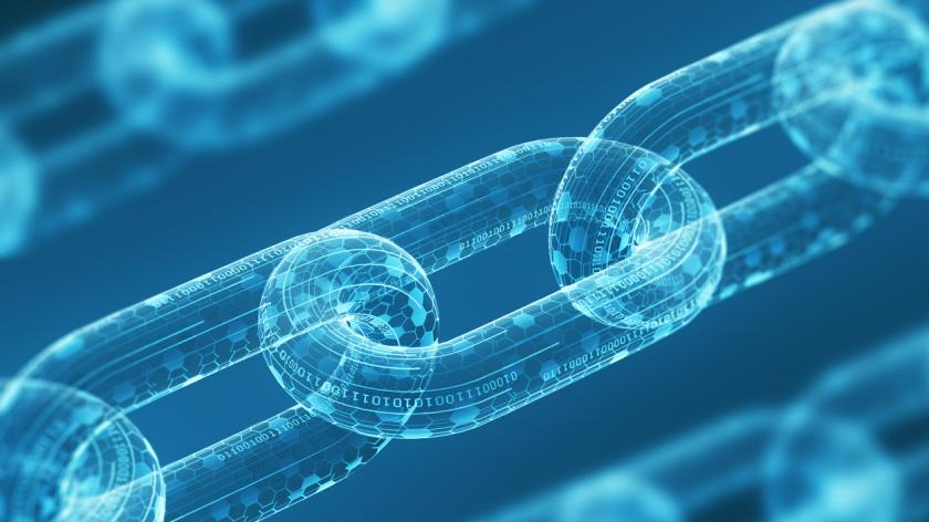 digital chains on a blue background