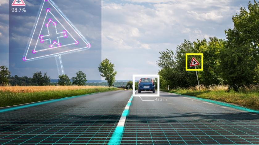 Autonomous self-driving car is recognizing road signs