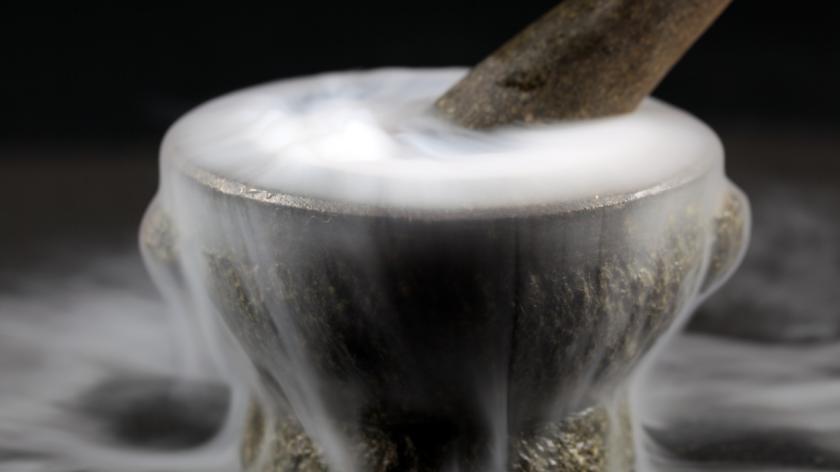 Mortar with fog