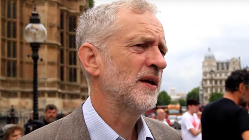Jeremy Corbyn speaking outside parliament