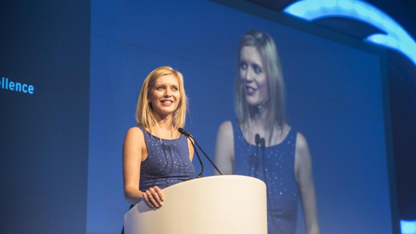 Rachel Riley presenting the 2017 Accounting Excellence awards