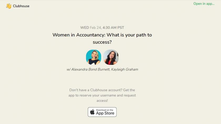 Clubhouse women in accountancy