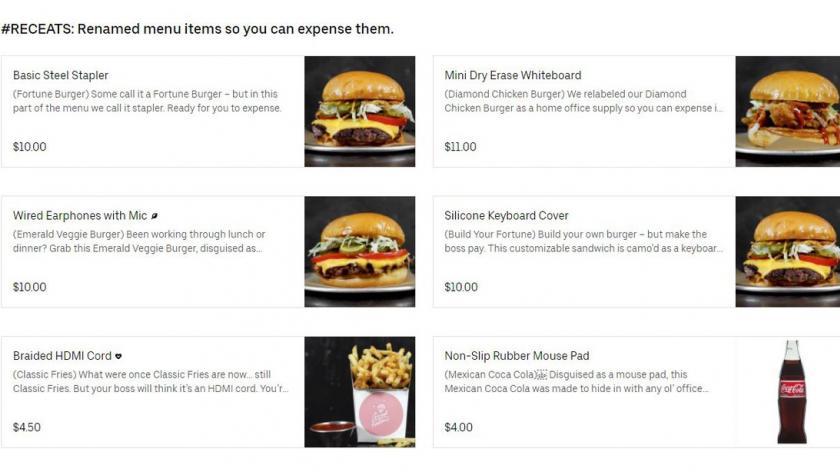 Good Fortune Burger mock expense menu