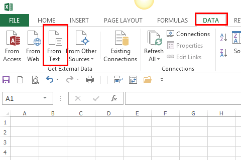Excel 2013 Get External Data tab