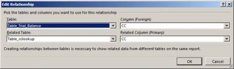 Excel 2013 Table relationship defined