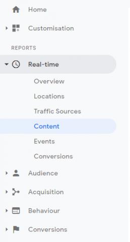 Screenshot of main tabs in Google Analytics side bar