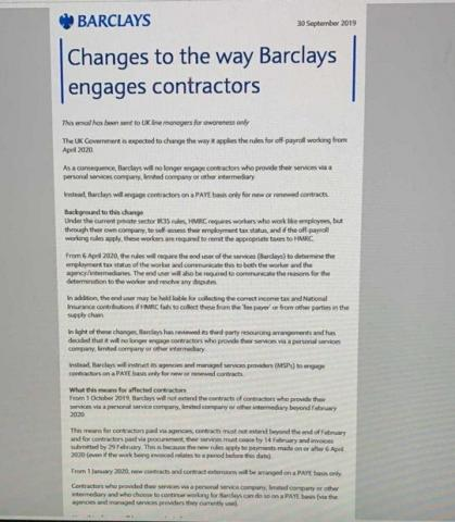 Barclays contractor letter
