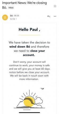 Email to Bó announcing the news of it's closure