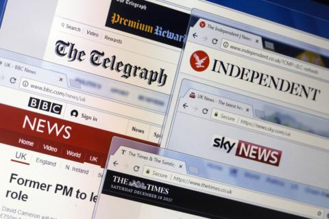 Websites (homepages) of leading news websites and publishing media