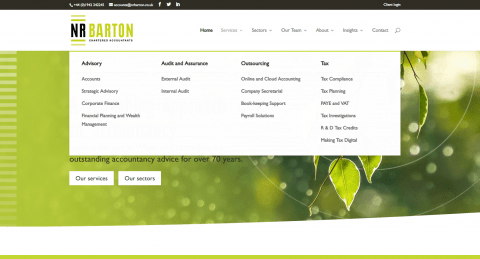 An example of a services dropdown on a PracticeWeb client website.
