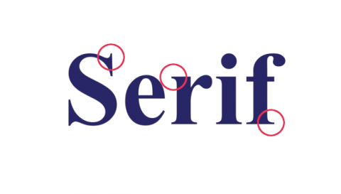 Times New Roman in action, with some serifs circled.