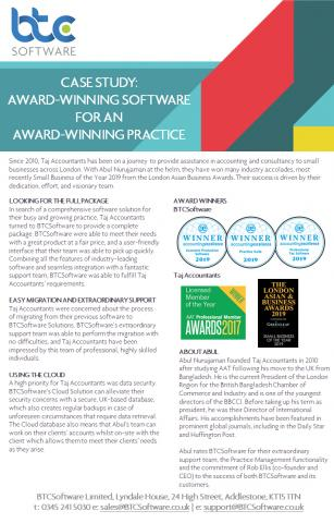 Taj Accountants Case Study Award Winning Software for an Award Winning Practice