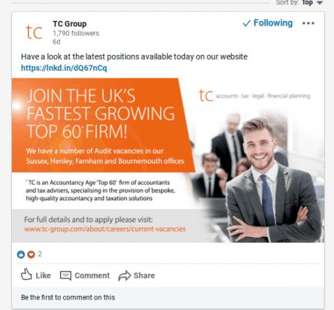 Taylor Cox recruitment advert social media