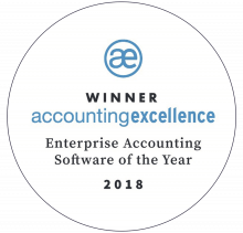 AccountsIQ Wins Enterprise Accounting Software of the Year 2018 badge