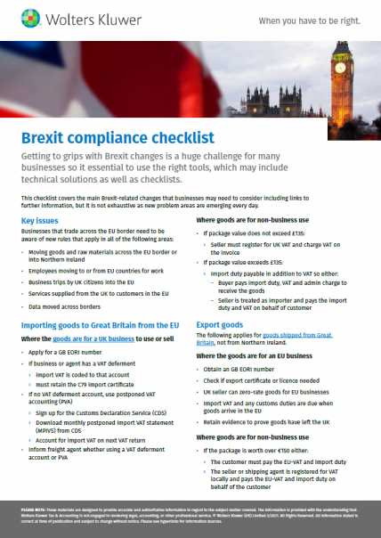 Brexit compliance cover
