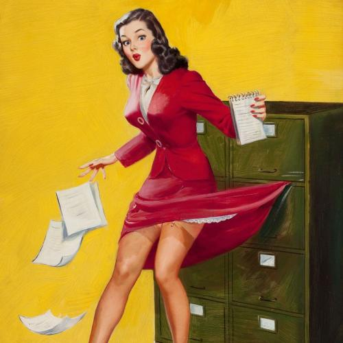 Image is of a pin up style woman in a red dress with some of her skirt caught in the filing cabinet. She looks surprised.