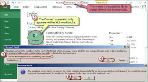 Excel's Convert command can turn workbook into .xlsx format