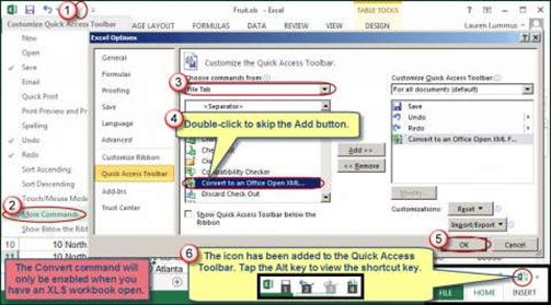 Add the Convert command to the Quick Access Toolbar