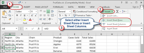 Using Insert Sheet Rows command to add new rows in a spreadsheet.