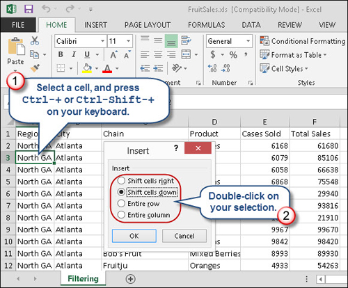 Excel tip fast ways to insert rows and columns for Table insert th