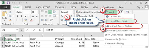 Insert Sheet Rows can be added to Excel's Quick Access Toolbar.
