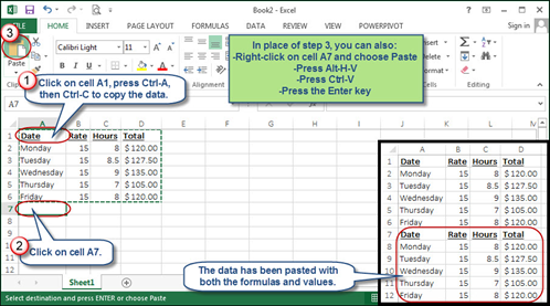 How to copy and paste formulas and values in Excel
