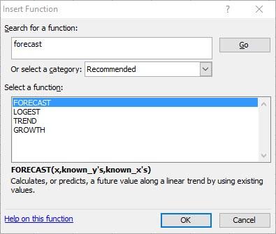 excel forecasting